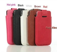 High quality Genuine slot leather pouch cover for iphone 5 5G,luxury real leather case for iphone5, Free Shipping