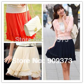 summer 2015 new fashion chiffon ruffles orange navy bule apricot  high waist casual short skirt women skirts female saias