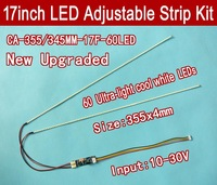Free shipping 2PCS 17'' 355mm Adjustable brightness led backlight strip kit,Update 17inch LCD ccfl panel to LED backlight