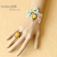 Women's Bow Tie Flower White Lace Adjustable Ring to Wrist Bracelet Set Handmade Sweat Lolita Jewelry Wholesale FREE shipping