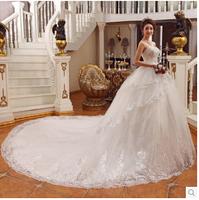 2014 New  luxury lace big train wedding dress sweet tube top bandage long trailing