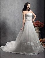 Listen ! Smelling... Yesterday Once M......A-line Strapless Court Train Satin Organza Wedding Dress