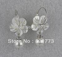 natural seashell flower white pearl 925 silver dangling earring