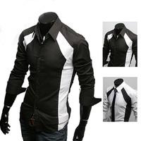 New Mens Casual key-2 Luxury Stylish Dress Slim Shirts 2 see Colour BLACK WHITE