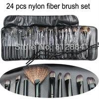 24pcs Professional Makeup Brush Set&Kits Nylon Fiber Eyeshadow Brushes With Leather Case Free Shipping