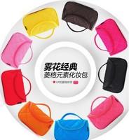 Multi-colored fog flower classic plaid portable professional cosmetic bag cosmetic bag multi purpose storage bag 2013