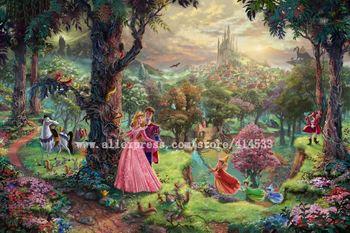 Thomas Kinkade prints Original oil painting Sleeping Beauty Art print reproduction on canvas Home decor modern wall painting