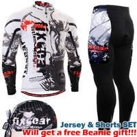 {NO.QXF3001}Hot Sale Fixgear Mens Long sleeve Cycling Jersey Bike MTB Bicycle Jerseys & Padded Cycling Pants with gift Beanie