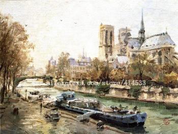 Thomas Kinkade prints original oil painting Notre dame,paris reproduction on canvas famous Landscape painting Home decor