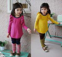 2014 New Children's clothes 100% Cotton Pure color Cute Girl's suit /2pcs Long sleeve T-shirt+Leggings Girl's Set