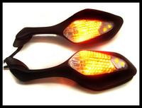 Freeshipping LED Turn Signal Side Mirrors Black for 08-11 Honda CBR1000RR CBR 1000 RR 09 10