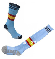 Football world cup long tube socks 12-13 Spain National Team Away Soccer Socks,Football Long Thicken cotton Socks Spain socks