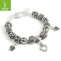 Free Fashion European Style 925 Silver Crystal Charm Bracelets for Men With Black Murano Glass Beads Handmade Jewelry ZBB1337