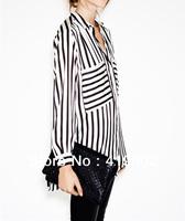 2013 New Fashion Womens Ladies Loose Casual Black White Striped Pockets Chiffon Blouse Shirt Top Long Sleeve Asymmetric