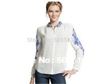 BS-005  Women's stylish long sleeve fashion chiffon floral print  carol shirt, popular blouses, FREE SHIPPING !