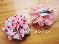 New Design Fabric Polka Dot Flower Kids Girls Head Flower Hair Clips