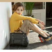 New Arrival Black Color Pu Leather Fashion Woman's Lady's Handbag Fashion Bags Free Ship 09236