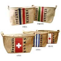Free shipping! Large 30.5x21.5x24cm Natual Linen vintage national flag storage bags baskets for sundries,food,clothes,6 designs