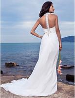 Listen ! Smelling... Yesterday Once M......Sheath/ Column Halter Court Train Chiffon Wedding Dress
