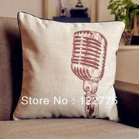 45x45cm Vintage Microphone Linen Throw Pillow Case Cushion Cover Pillow Sham