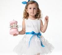 New 2014 Girls' Very Beautiful Sleeveless Tiered Yarn One-piece Dress Baby Girl's Yarn Dresses Children Princess Dresses