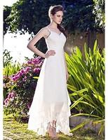 Listen ! Smelling... Yesterday Once M......A-line V-neck Asymmetrical Organza Wedding Dress