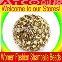 Wholesale 12mm Light yellow Clay Rhinestone Crystal Shambala Beads Disco Ball Micro Pave Beads mixed colors in bulk sale