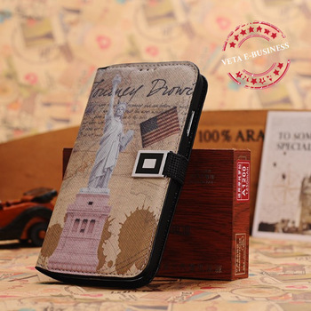 For Galaxy S IV S4 s4 with stand flip cover world map Credit Card Slot leather case i9500 phone cover wholesale 10pcs/lot