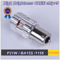 High Quality Led Lamp Car High Power 2 PCS P21W BA15S 1156 1141 S25 CREEx 5 25W DC 12V LED Reverse Lights Retail and Wholesale