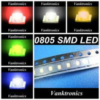 5Valuesx3000pcs/reel=15000pcs New 0805 Ultra Bright SMD LED Red/Green/Blue/White/Yellow kit