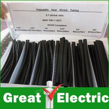 6 Sizes Heat Shrink Tubing Kit Black Colors ,Transparent Plastic Box,Shrinkable Tubing Free Shipping #RS034(China (Mainland))