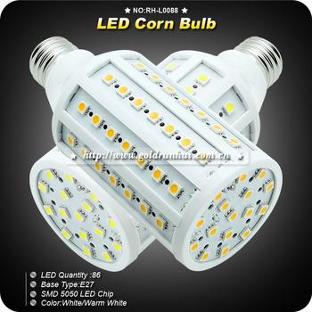 CE&RoHS 18W E27 SMD 5050 86LED Warm White Energy Saving LED Corn Lamp Lights Bulbs AC220V