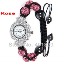 Free shipping! Charm Rose Diamante Beads Watch Shamballa Bracelet Watch Wholesale 3pcs/lot gift battery