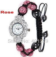 Free shipping! Charm Rose Diamante Beads Watch Shamballa Bracelet Watch Wholesale 3pcs/lot gift battery