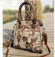 Practical Women's Canvas Bag Cute Teddy Bear Printed Large Capacity Shoulder bags Leisure Messenger Bags Casual Female Bags