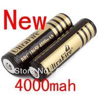 Free shipping 2PCS/lot UltraFire 18650 Rechargeable Li-Ion Lithium Battery 4000mAh for Flashlight