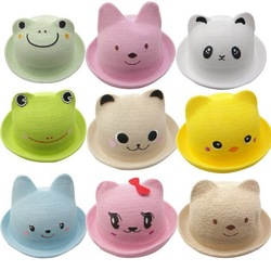 Bear Model Hat Baby Cute Animals Small Strawhat Children Weave Breathable Sun Hat SJ052(China (Mainland))