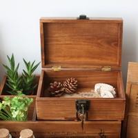 Zakka solid wood vintage retro finishing desktop storage wooden box with lock box storage box