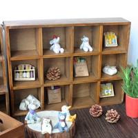 Zakka solid wood vintage retro finishing storage wooden box 12 plaid storage box japanese style