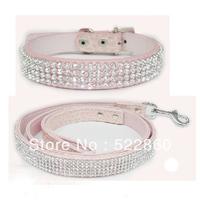 Collars+Leads Free Shipping New Bling Rhinestone dog cat collar Crystal Jeweled PU Leather Pet Cat Dog  Leash