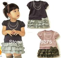 Retail 2014 New baby girl summer dress,dot bow short sleeve ball gown,one-piece dress,baby summer clothing,children wear