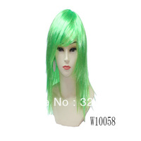 Green not human hair long straight full lace wigs