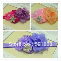Stretch Elastic headband+Ruffled Lace Rosette Satin Flower with Leaf Rhinestone Newborn Photo Prop 21pcs/Lot Free shipping