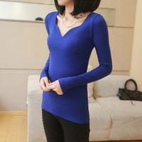 Korean Fashion 2014 Spring Winter Female Thread Cotton V-Neck Petals Casual Shirt T-Shirt Women Clothing Tops Sleeve T-Shirts