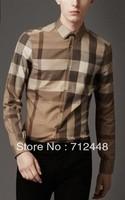Fashion men designer casual shirts with long sleeve,100% cotton,free shipping Drop Shipping