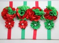 8pcs/lot Free Shipping Christmas Headband Red Green Flower Elastic FOE Headband Hair Accessory