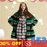 Free shipping High Fashion 2013 Wholesale Retail Natraul rabbit fur knitted coat Handmade Rex Rabbit Fur Jacket