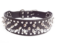 Free Shipping 2inch Wide Leather Spiked&Studded Dog Collars Pitbull Bully Terrier Husky Boxer 9 Color 4 Size