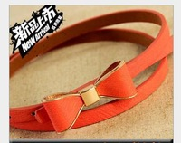 Free shipping  Ms candy color bowknot belt joker that stick a skin is thin leather belt