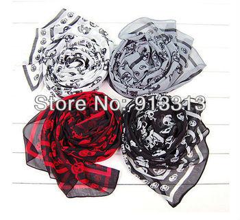 4 color choose fashion Cool Skull Womens Black white Scarf Shawl HOT sell wrap